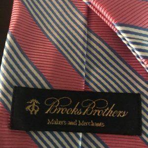 Brooks Brothers Pink Blue Stripe Silk Necktie